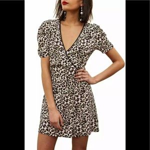 Topshop Animal Print Wrap Mini Dress US 8